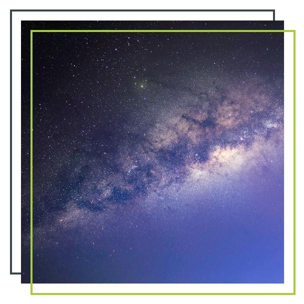 Weltraumbild mit versetzten Rahmen