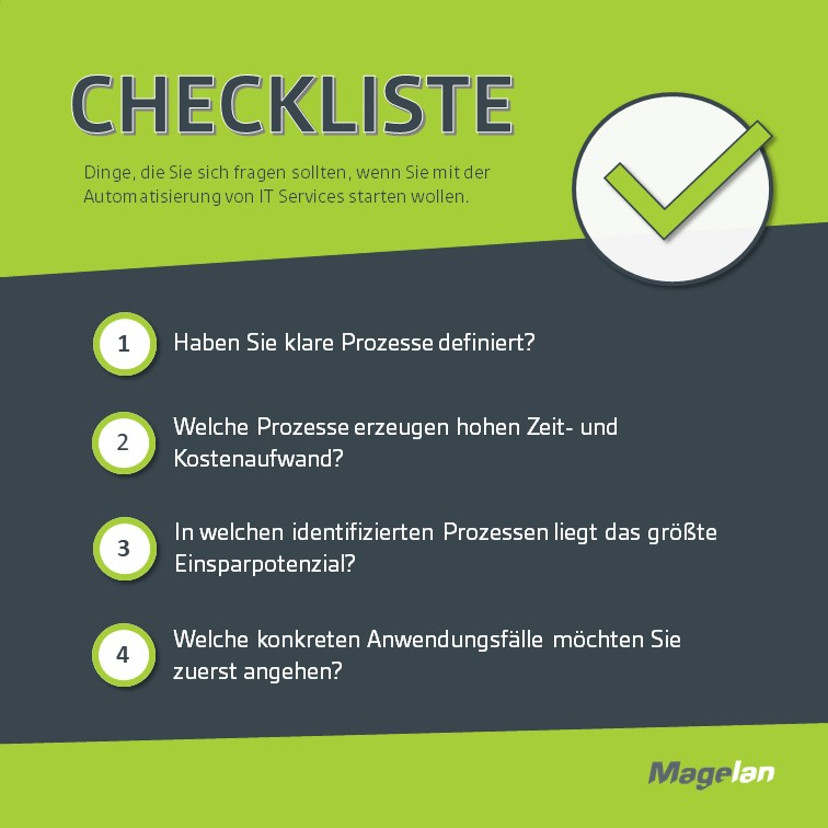 Infografik mit Checkliste IT Automation